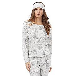 Lounge & Sleep - White glittery printed pyjama and eye mask set