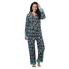Lounge & Sleep - Navy mistletoe print pyjama set