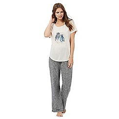 Lounge & Sleep - Cream owl print pyjama t-shirt and dark grey patterned bottoms set