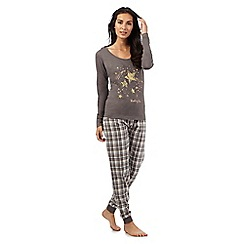 Lounge & Sleep - Grey check print 'Shooting Star' pyjama set