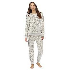 Lounge & Sleep - Taupe leopard print two piece pyjama set