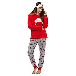 Lounge & Sleep - Red robin embroidered top and bottoms pyjama set with an eye mask