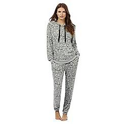 Lounge & Sleep - Grey bear print hoodie and bottoms pyjama set