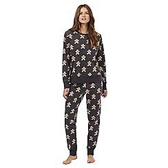 Lounge & Sleep - Grey gingerbread man print pyjama set