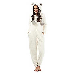Lounge & Sleep - Petite cream animal onesie