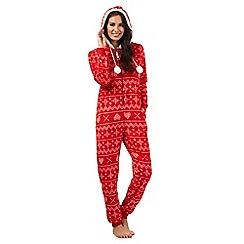 Lounge & Sleep - Red Fair Isle print hooded onesie