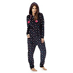 Lounge & Sleep - Navy star print hooded onesie