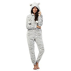 Lounge & Sleep - Cream zebra print onesie