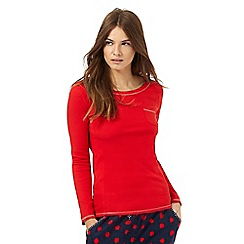 Lounge & Sleep - Petite red ribbed pocket pyjama top