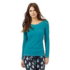 Lounge & Sleep - Turquoise ribbed pocket pyjama top