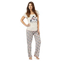 Lounge & Sleep - Tall cream penguin print pyjama t-shirt and bottoms set