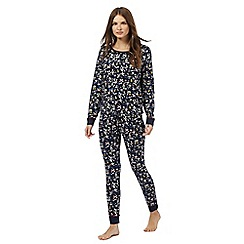 Lounge & Sleep - Petite navy festive print pyjama top and bottoms set