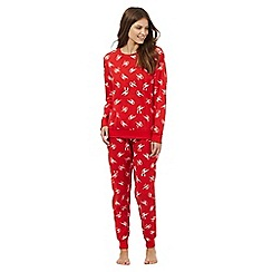 Lounge & Sleep - Red robin print two piece pyjama set