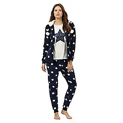 Lounge & Sleep - Navy and cream star print pyjama top, bottoms and hoodie set