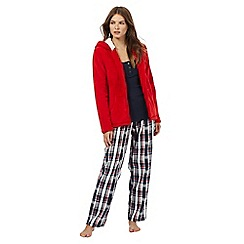 Lounge & Sleep - Red three piece snowflake pyjama set