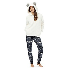Lounge & Sleep - Cream bear hooded top and printed bottoms pyjama set