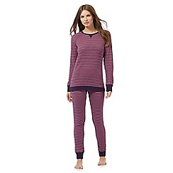 Lounge & Sleep - Pink and purple textured striped glittery pyjama set