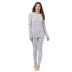 Lounge & Sleep - White Fair Isle print pyjama set