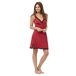J by Jasper Conran - Red ditsy print lace trim chemise