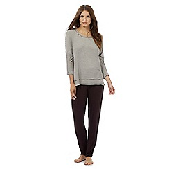 J by Jasper Conran - Brown striped loungewear set