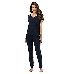 J by Jasper Conran - Navy lace trim pyjama top and bottoms set