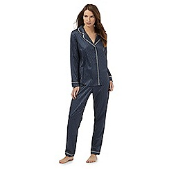 J by Jasper Conran - Navy satin printed pyjama set