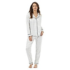 J by Jasper Conran - Ivory satin dotted striped print pyjama set