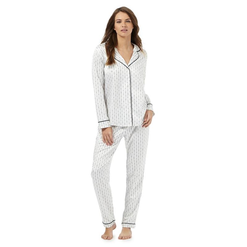 J by Jasper Conran Ivory Satin Dotted Striped Print Pyjama