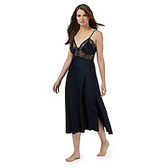 J by Jasper Conran - Navy lace trim long night dress