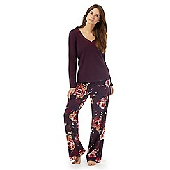 RJR.John Rocha - Purple floral print pyjama set with modal