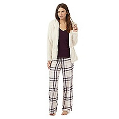 RJR.John Rocha - Purple and cream pyjama set with fleece hoodie