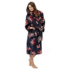 Lounge & Sleep - Navy rose print dressing gown