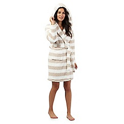Lounge & Sleep - Cream striped dressing gown