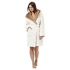 Lounge & Sleep - Cream faux fur trim dressing gown