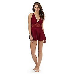The Collection - Dark red lace trim babydoll and briefs set