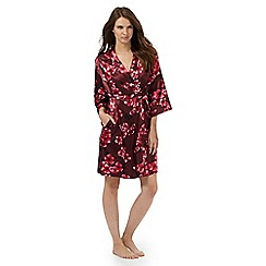 The Collection - Red floral print satin dressing gown