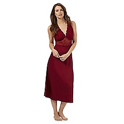 The Collection - Dark red lace trim long night dress