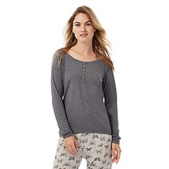 Lounge & Sleep - Petite grey button applique pyjama top