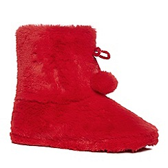Lounge & Sleep - Red fleece boots