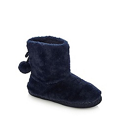 Lounge & Sleep - Navy faux fur boots