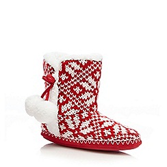 Lounge & Sleep - Red Fair Isle slipper boots