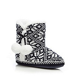 Lounge & Sleep - Navy Fair Isle-inspired slipper boots