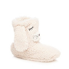 Lounge & Sleep - Cream rabbit slipper boots