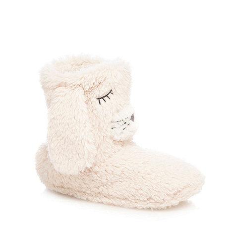 Lounge & Sleep - Cream rabbit slipper boots