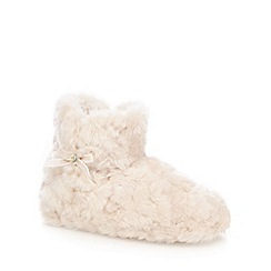 Lounge & Sleep - Taupe faux fur slipper boots