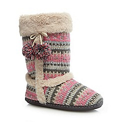 Lounge & Sleep - Pink knitted slipper boots