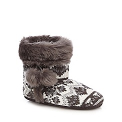 Lounge & Sleep - Grey Fair Isle pattern slipper boots