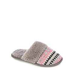 Lounge & Sleep - Grey knitted mule slippers