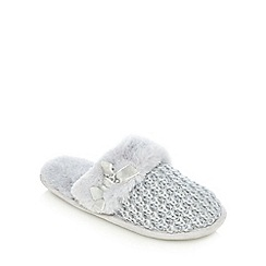 Lounge & Sleep - Grey Lurex® knitted mule slippers