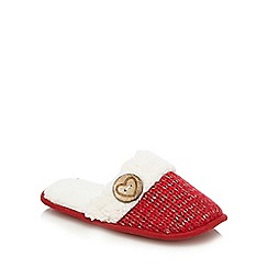 Lounge & Sleep - Red knitted mule slippers